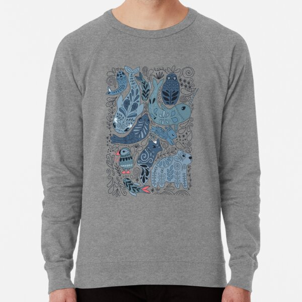 Arctic animals. Narwhal, polar bear, whale, puffin, owl, fox, bunny, seal. Lightweight Sweatshirt