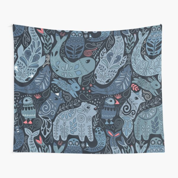 Arctic animals. Narwhal, polar bear, whale, puffin, owl, fox, bunny, seal. Tapestry