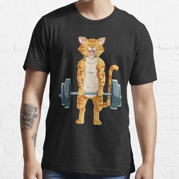 Cat Deadlift Powerlifting T Shirt Fitness Gym Lifting Weights Tee Gifts Essential T-Shirt