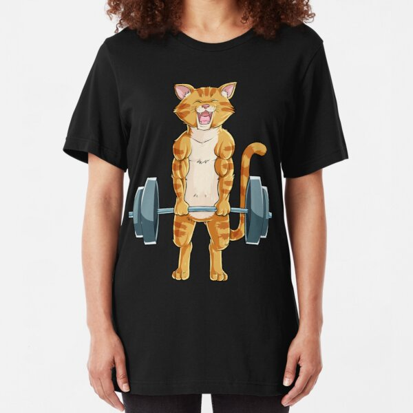 Cat Deadlift Powerlifting T Shirt Fitness Gym Lifting Weights Tee Gifts Slim Fit T-Shirt