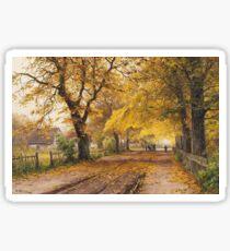 Vintage Walter Moras - Herbstliche Dorfstrabe Mit Pferdefuhrwerk c1925 Fine Art Sticker