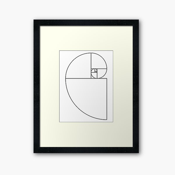 Golden Ratio Spiral - Sections Outline Framed Art Print