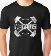 Vegains Vegan Muscle Power - Amazing Vegan Workout Gift Slim Fit T-Shirt