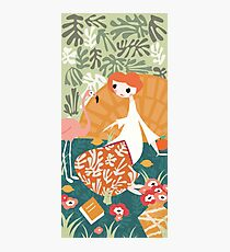 Girl with flamingo and Henri Matisse inspired decoration, vector illustration Photographic Print