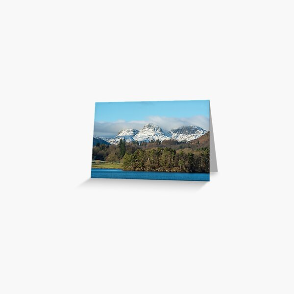 The Langdale Pikes in Winter seen from Lake Windermere in the Lake District National Park Greeting Card