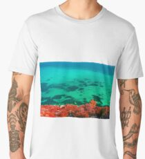 Turquoise sea water red foreground Men's Premium T-Shirt