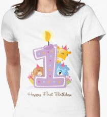 First Birthday Candle and Animals T-Shirt