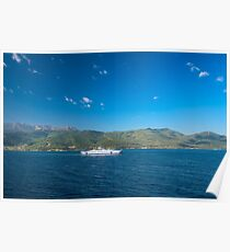 Ferry boat transporting people to Tasos island, sumer time, clear blue sky Poster