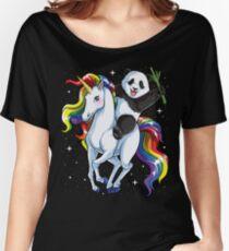 Panda Riding Unicorn Shirt Funny Meme Rainbow T-shirt Gifts for Panda Lovers Women's Relaxed Fit T-Shirt