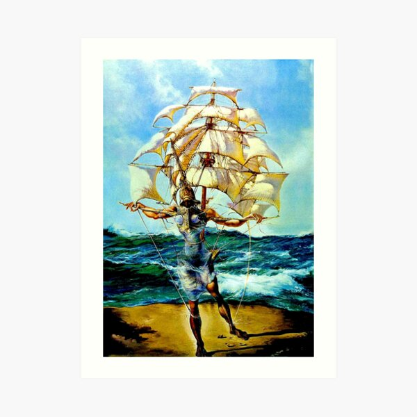 THE SHIP : Vintage Abstract Fantasy Painting Print Art Print