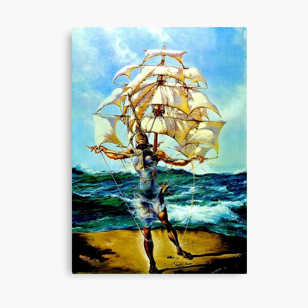 THE SHIP : Vintage Abstract Fantasy Painting Print Canvas Print