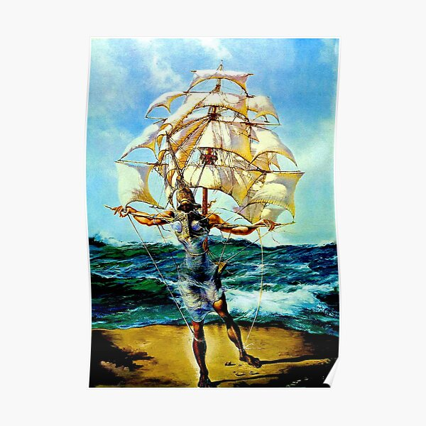 THE SHIP : Vintage Abstract Fantasy Painting Print Poster