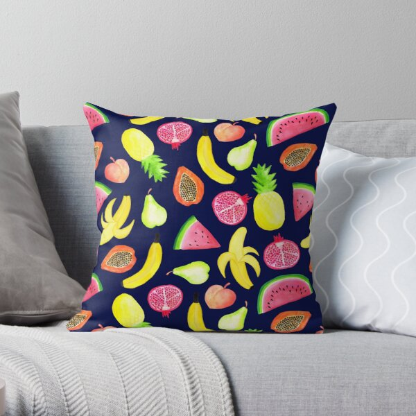 Tropical Punch - Navy Throw Pillow