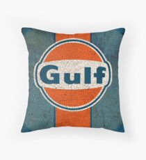 Vintage Gulf gas and oil Throw Pillow