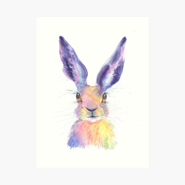 Rainbow Hare Art Print