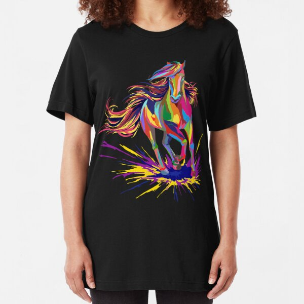 1885C Colorful Horse head Adult/'s T-shirt Great gift for horseman Tee for Men