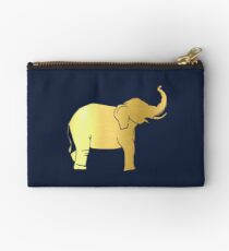 Gold Elephant Zipper Pouch