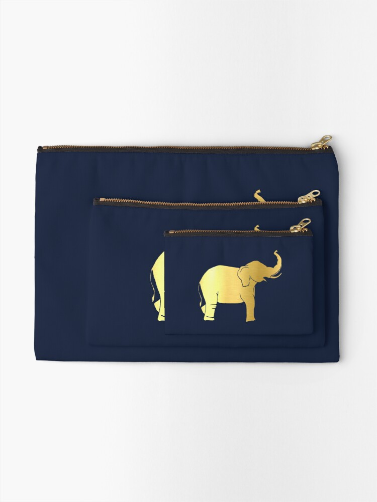 Alternate view of Gold Elephant Zipper Pouch