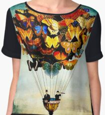 BUTTERFLY BALLOON : Vintage Abstract Painting Print Chiffon Top