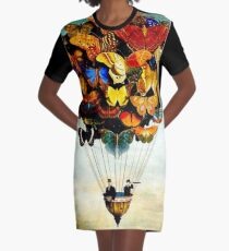 BUTTERFLY BALLOON : Vintage Abstract Painting Print Graphic T-Shirt Dress
