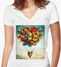 BUTTERFLY BALLOON : Vintage Abstract Painting Print Women's Fitted V-Neck T-Shirt