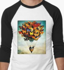BUTTERFLY BALLOON : Vintage Abstract Painting Print Men's Baseball ¾ T-Shirt