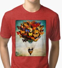 BUTTERFLY BALLOON : Vintage Abstract Painting Print Tri-blend T-Shirt