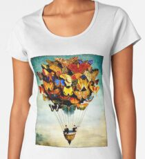 BUTTERFLY BALLOON : Vintage Abstract Painting Print Women's Premium T-Shirt
