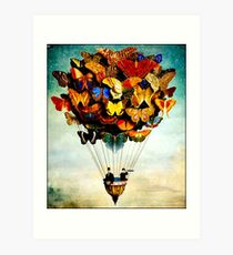 BUTTERFLY BALLOON : Vintage Abstract Painting Print Art Print