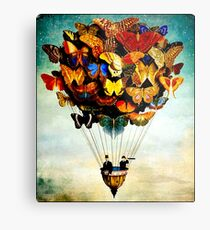 BUTTERFLY BALLOON : Vintage Abstract Painting Print Metal Print
