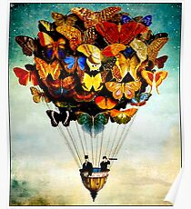 BUTTERFLY BALLOON : Vintage Abstract Painting Print Poster