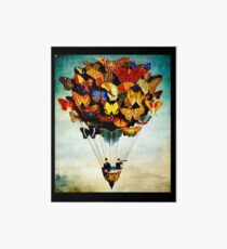 BUTTERFLY BALLOON : Vintage Abstract Painting Print Art Board