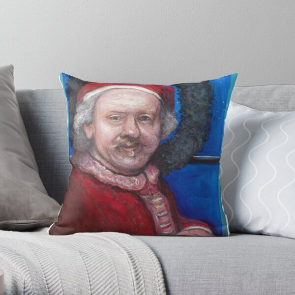 Rembrandt Santa Throw Pillow