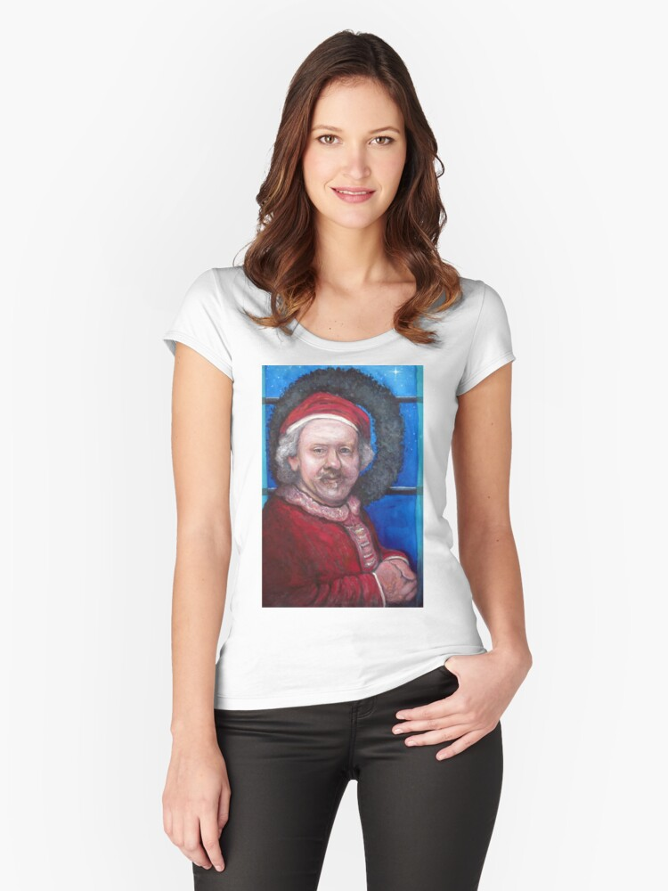 Rembrandt Santa Women's Fitted Scoop T-Shirt Front