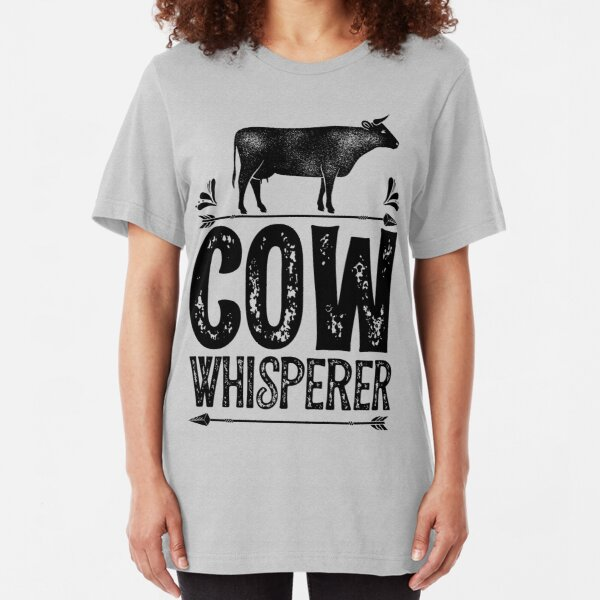 Cow Whisperer Shirt Funny Farming Farm Gifts T-shirt for Farmers or Cow Lovers Slim Fit T-Shirt