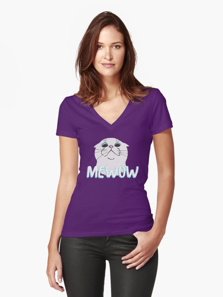 Mewow Cat Women's Fitted V-Neck T-Shirt Front