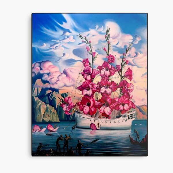 FLOWER SAIL BOAT : Vintage Abstract Fantasy Painting Print Metal Print