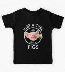 Super süß nur ein Mädchen, das Schweine Blume liebt Kinder T-Shirt