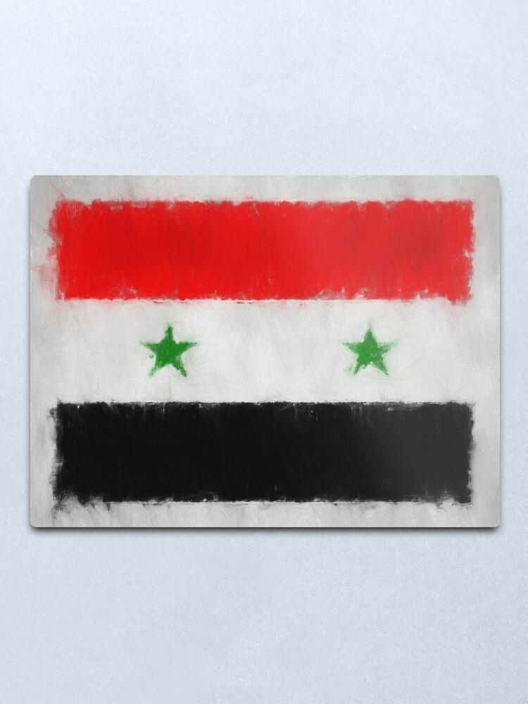 Alternate view of Syria Flag Reworked No. 66, Series 3 Metal Print