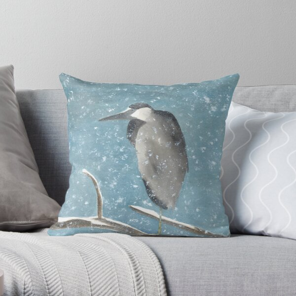 Great Blue Heron in Tree Snowy Winter Roosting Scene Throw Pillow