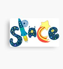 Bright color design word ''space''. Doodle creative typography. Canvas Print