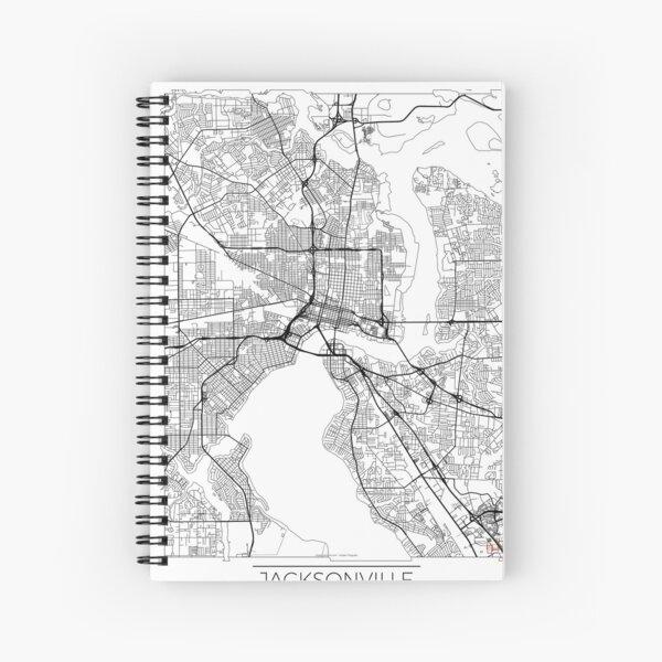 Jacksonville Map Minimal Spiral Notebook