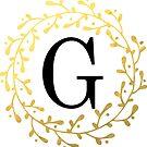 Monogramm-Buchstabe G | Personalisiert | Schwarz und Gold Design von PraiseQuotes
