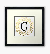 Monogram Letter G | Personalised | Black and Gold Design Framed Print