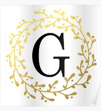 Monogram Letter G | Personalised | Black and Gold Design Poster