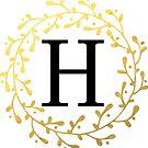 Monogramm-Buchstabe H | Personalisiert | Schwarz und Gold Design von PraiseQuotes