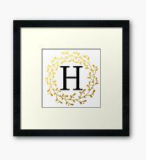 Monogram Letter H | Personalised | Black and Gold Design Framed Print