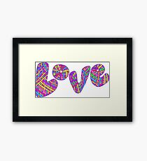 Bright colored design word love. Doodle line style creative typography. Framed Print