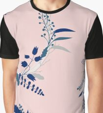 Blue Flowers on Pink Graphic T-Shirt