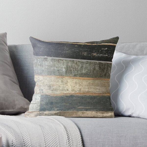 distressed beach rustic country farmhouse chic teal barn wood Throw Pillow